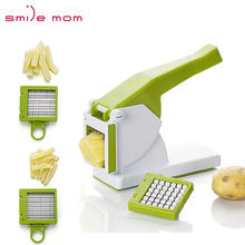 Smile mom Multifunctional Kitchen French Fries Maker Hard Vegetable Fruit Dicer Hand Potato Chipper