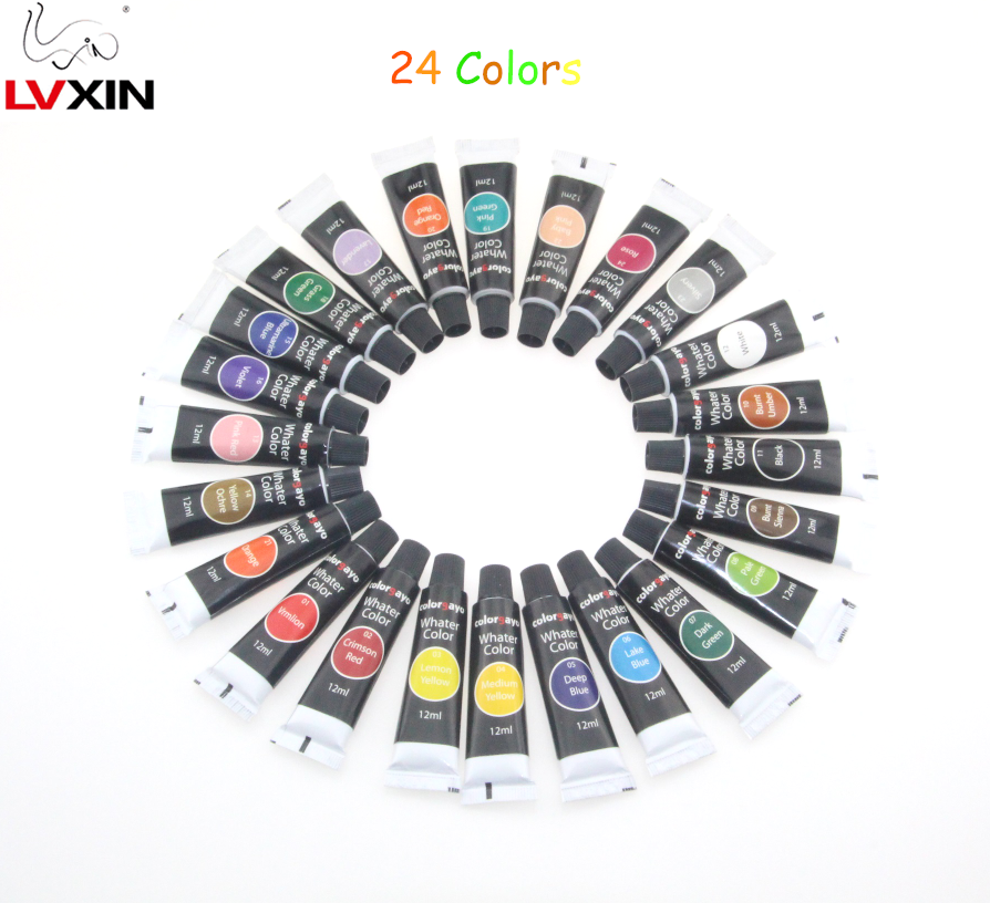 High quality 12ml Watercolor Tube Artist Paint 24 Color set