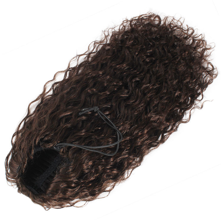 Double weft hair Indian water wave virgin human hair drawstring ponytail