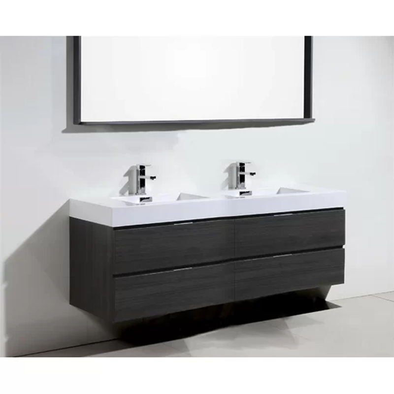 melamine grey mirror cabinet bathroom vanity with two basins