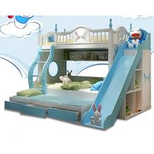 Bunk bed with slide funny cheap kids bed modern bedroom furniture blue