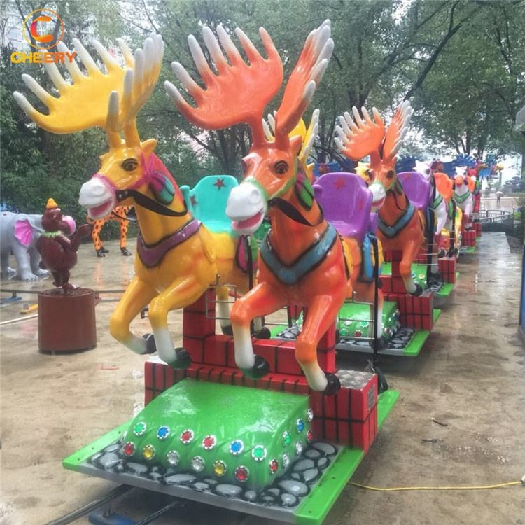 Popular family amusement park electric happy flying horses track train racing running horse rides