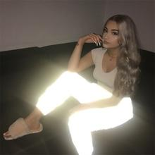 Ecoparty Women Night Luminous Light Reflective Leisure Jogger Club Party Casual Elastic Waist Reflective Long Pants