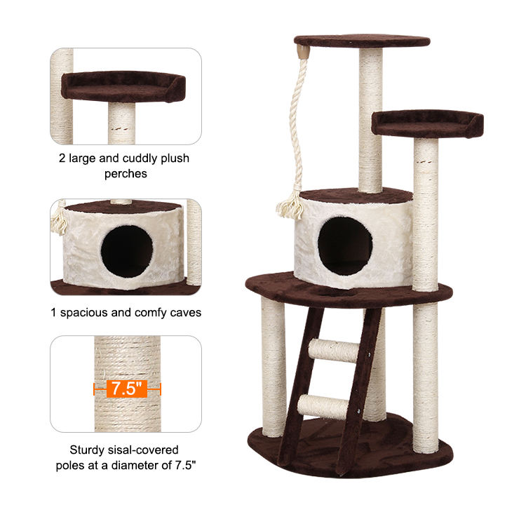 Free sample Cat Tree Tower Condo Play House Pet Scratch Post Kitten Furniture