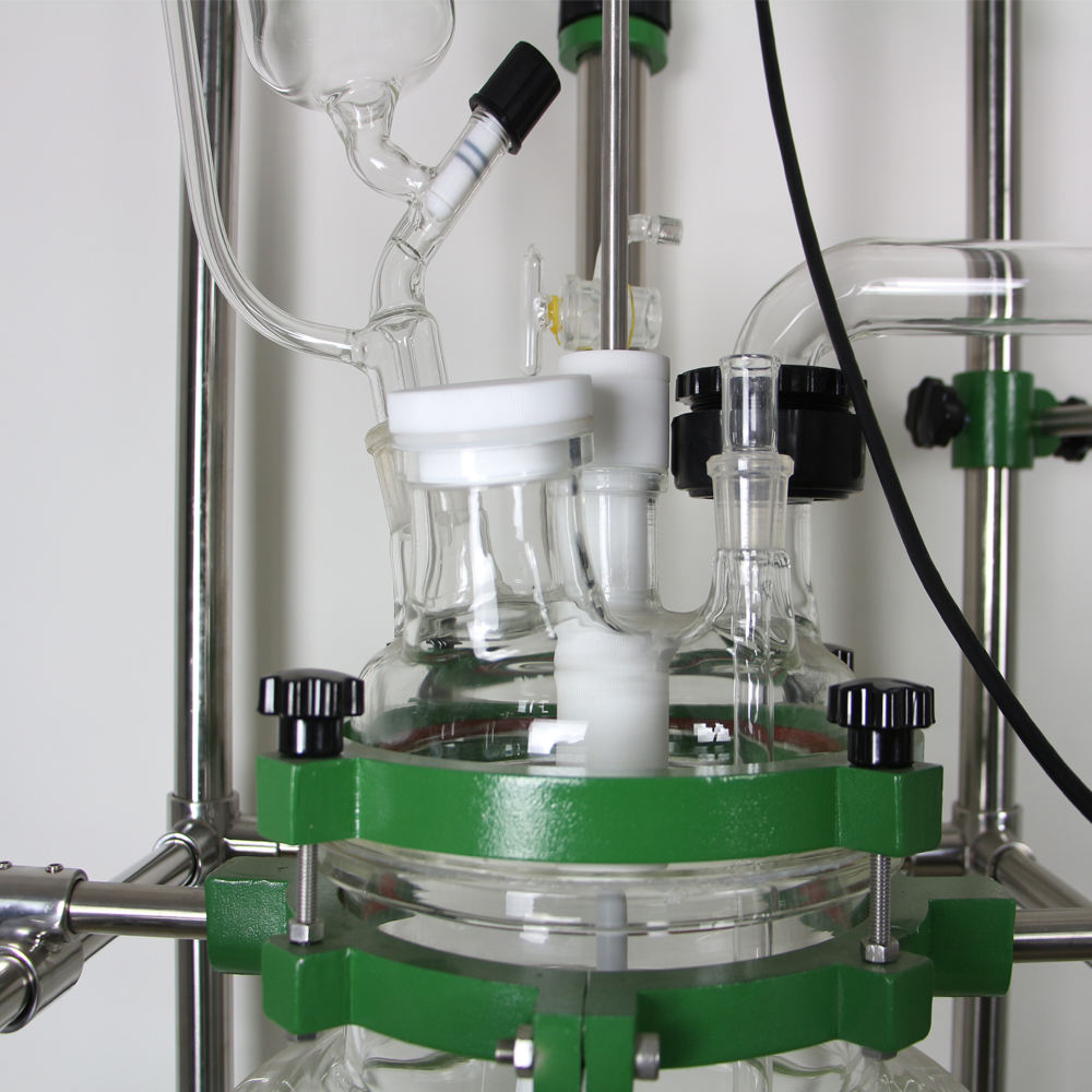 100 litre glue glass tank reactor with 5 neck lid and double layer reaction tank
