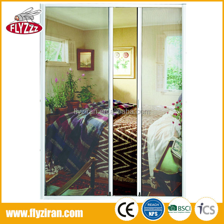 High quality double open design dust proof anti insect retractable screen doors
