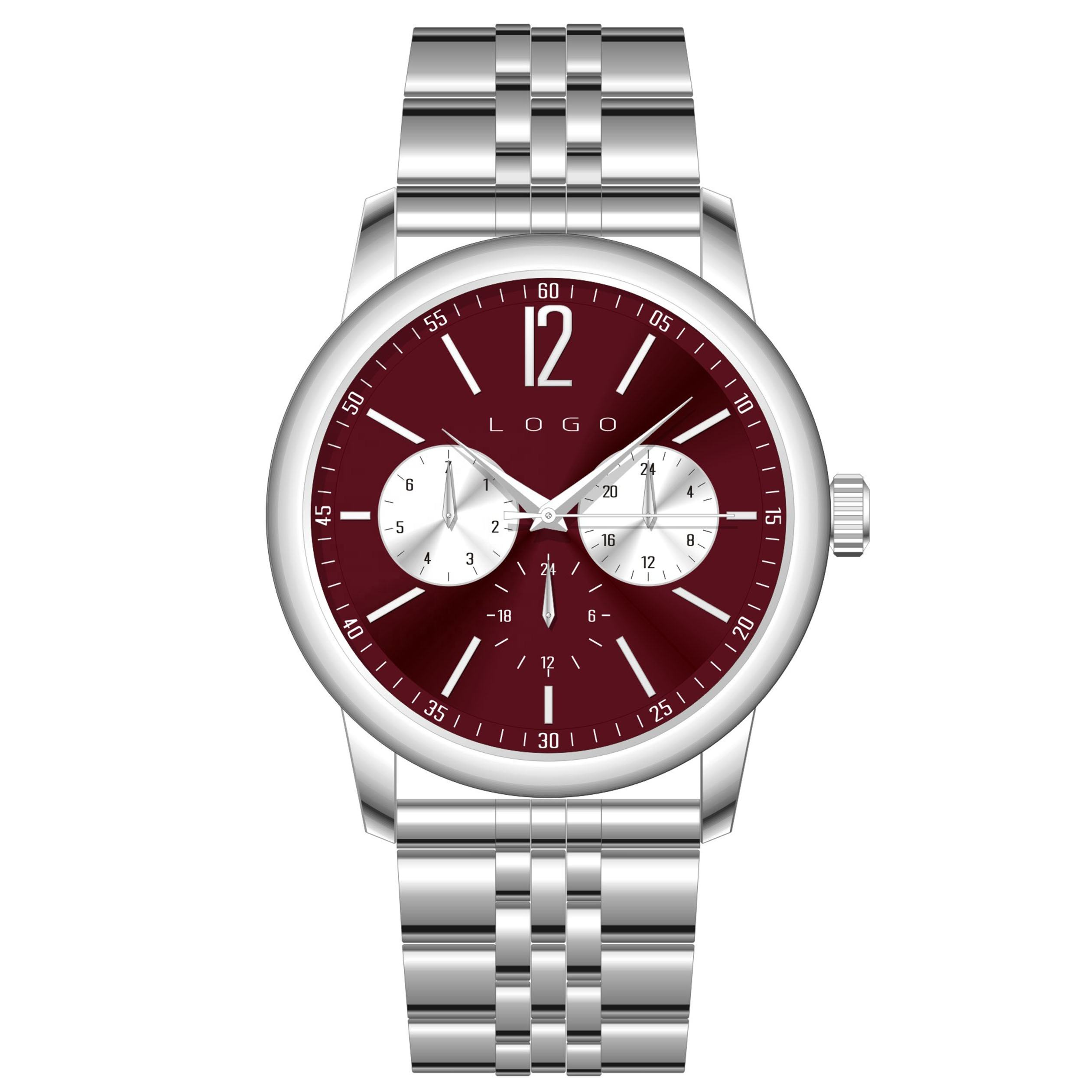 Day date water resistant high quality 3 eyes dress fashion men slim minimalistic silver watch