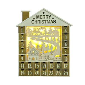Christmas Village Wooden Advent Calendar House decoration with LED Lighting Gift for Children 24 drawers to fill candy