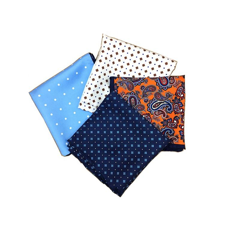 Mens Handkerchiefs Paisley Screen Print Hand Rolled Silk Pre Folded Pocket Squares