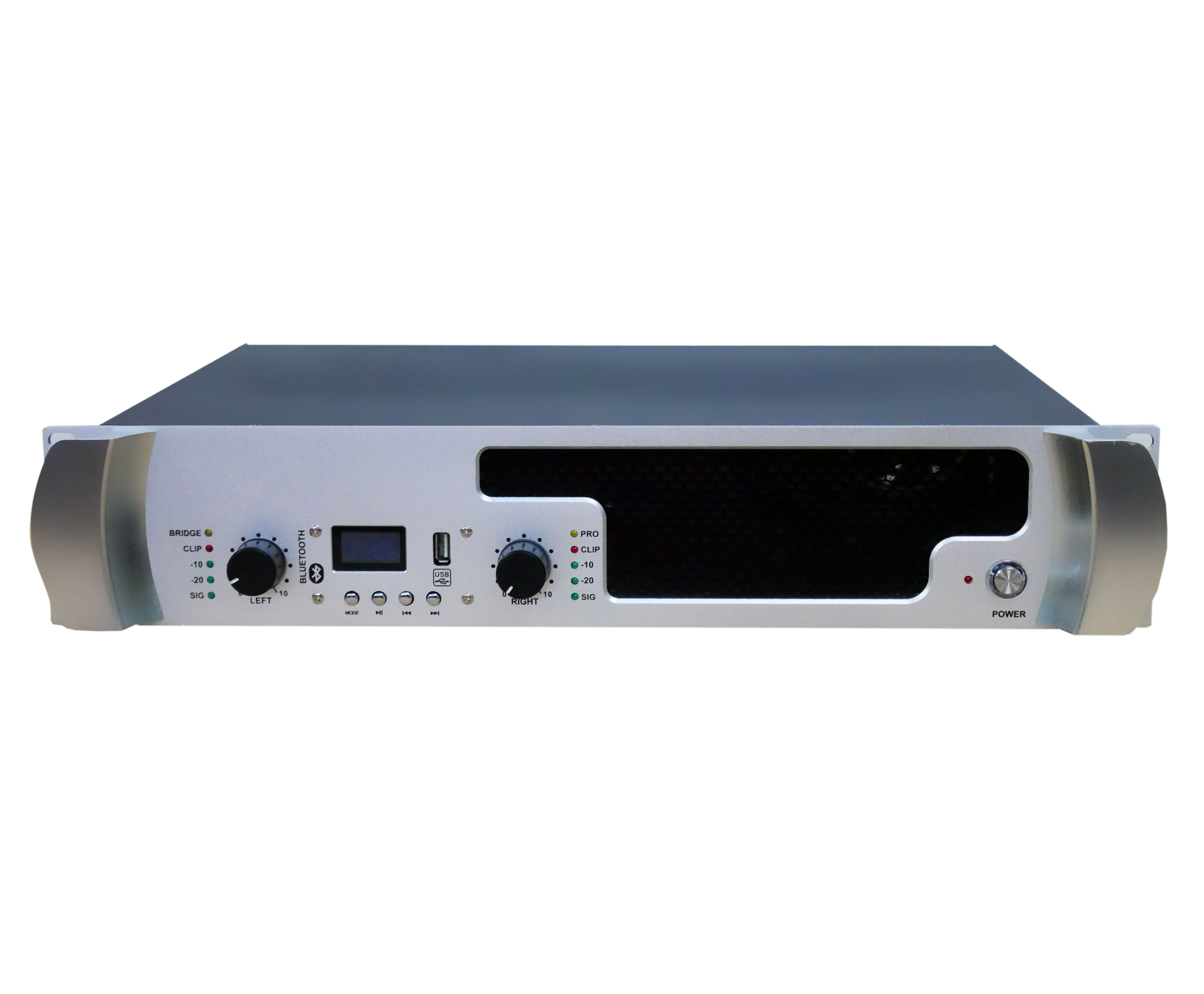 Newly designed high power output professional 2 channel amplifier with USB and BT