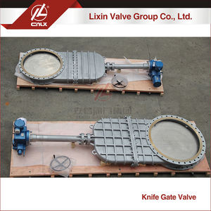 Big size carbon steel valve gate electric actuator Bonneted Flange Knife Gate Valve