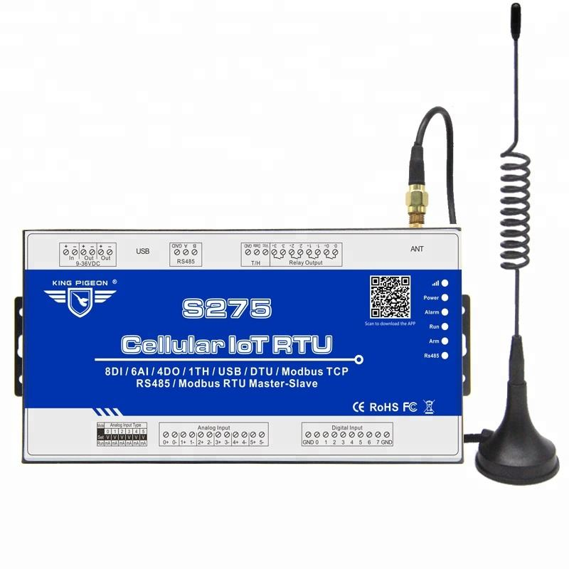 gsm gateway with 8DI 6AI 4DO sms gateway device Cellular IoT Modbus RTU 8DIN,6AIN/PT100,4Relay,1TH,USB,RS485,320 Extend I/O