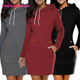 Latest Design Mini-Length Fashion Sweater Dress Winter Long Sleeve Women Hoodie Dress