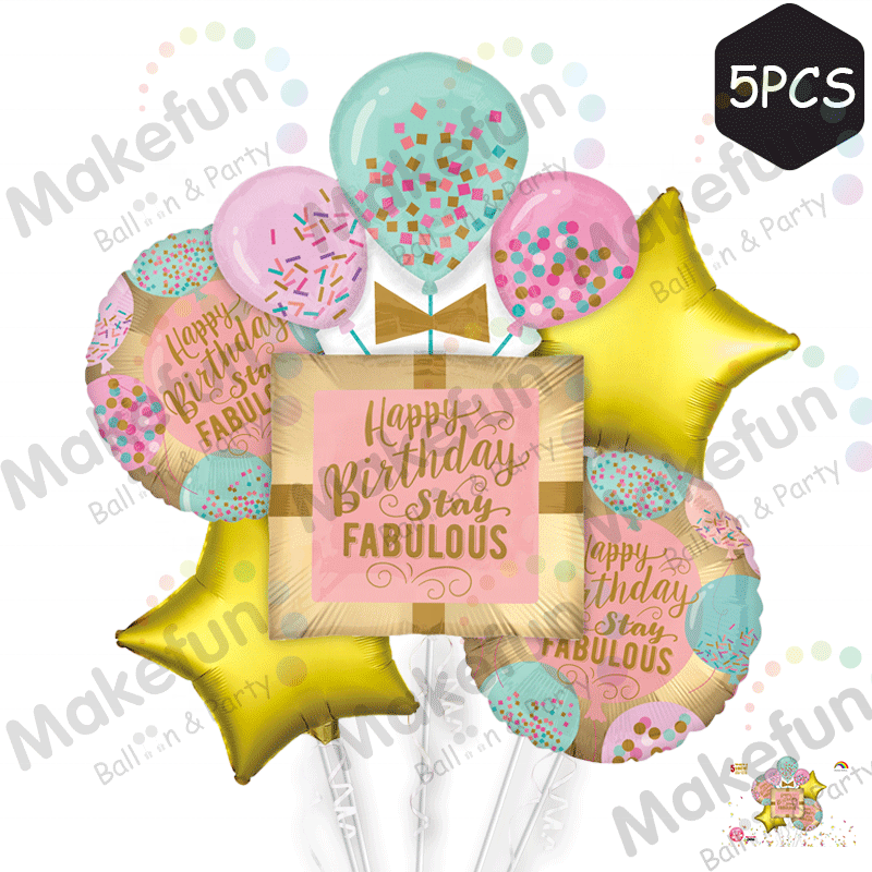 Wholesale Birthday Theme Stay Fabulous Gift Box Kids Birthday Party Background Decoration Individual Packing Set Foil Balloon