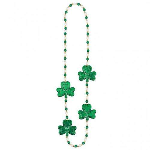 St Patricks Day Shamrock & Pearls Shamrock necklace- Fancy Dress accessory SF0104