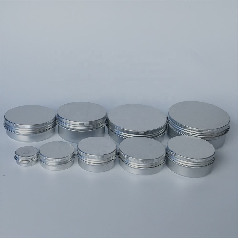 Aluminum Candle Jar 5ml 10ml 30ml 50ml 60ml 80ml 120ml Silver Round Aluminum Jar Cream CandLe And Candy Storage Tin Container Box With Screw Cap