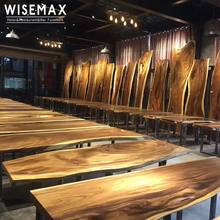Industrial modern style furniture solid black walnut slab wood table live edge slab table top for dining room
