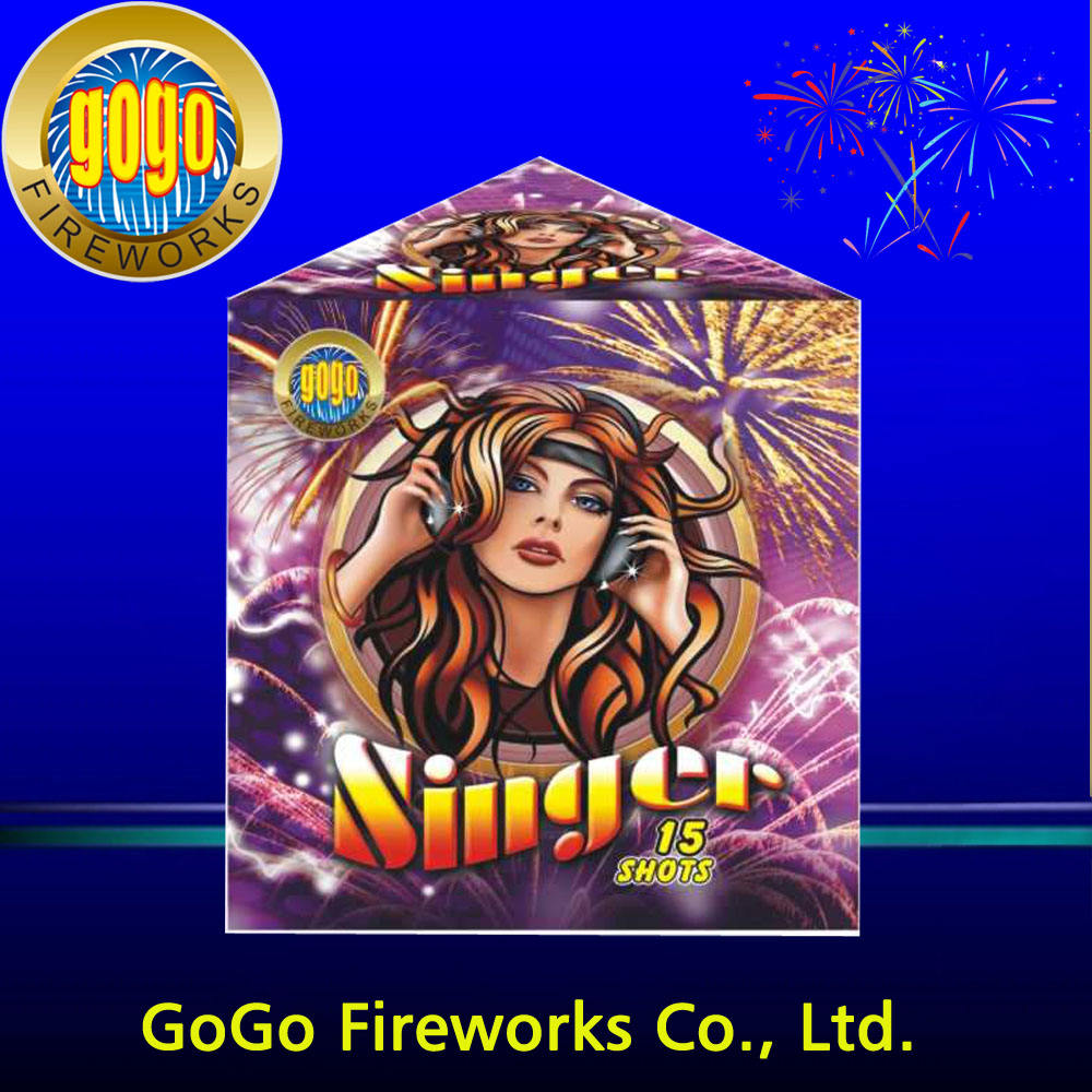 "0.8"" 15s singer consumer cakes fireworks hot sale products 1.4g un0336 fireworks factory in china lucky fireworks manufacturer"