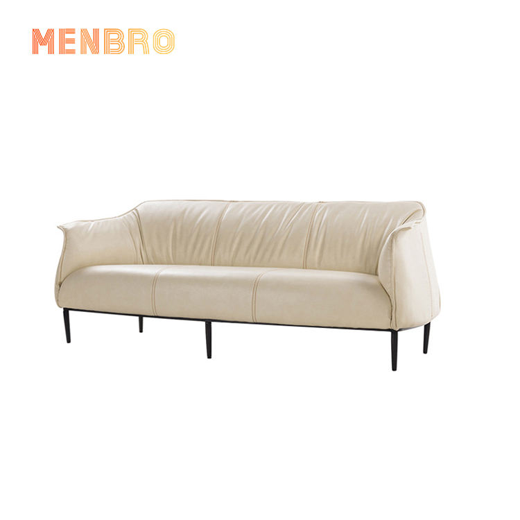 Wholesale white Nordic Mid century metal frame leather home furniture couch living room 3 seat sofas