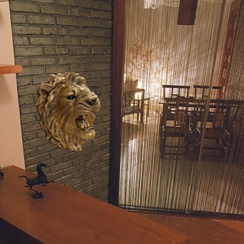 Forma de la cabeza del león de oro decorativo colgante de pared accesorios para el hogar de lujo