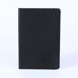 A5 pu leather custom inner pages hardcover classic daily planner black plain notebook with elastic band
