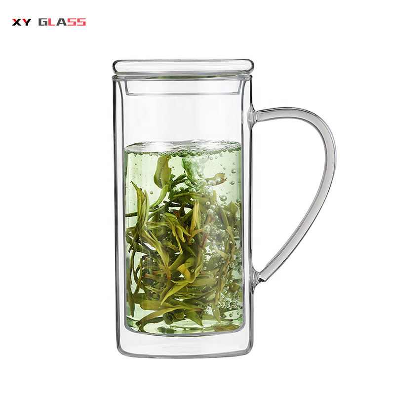 Top quality heat resistant double wall glass mug