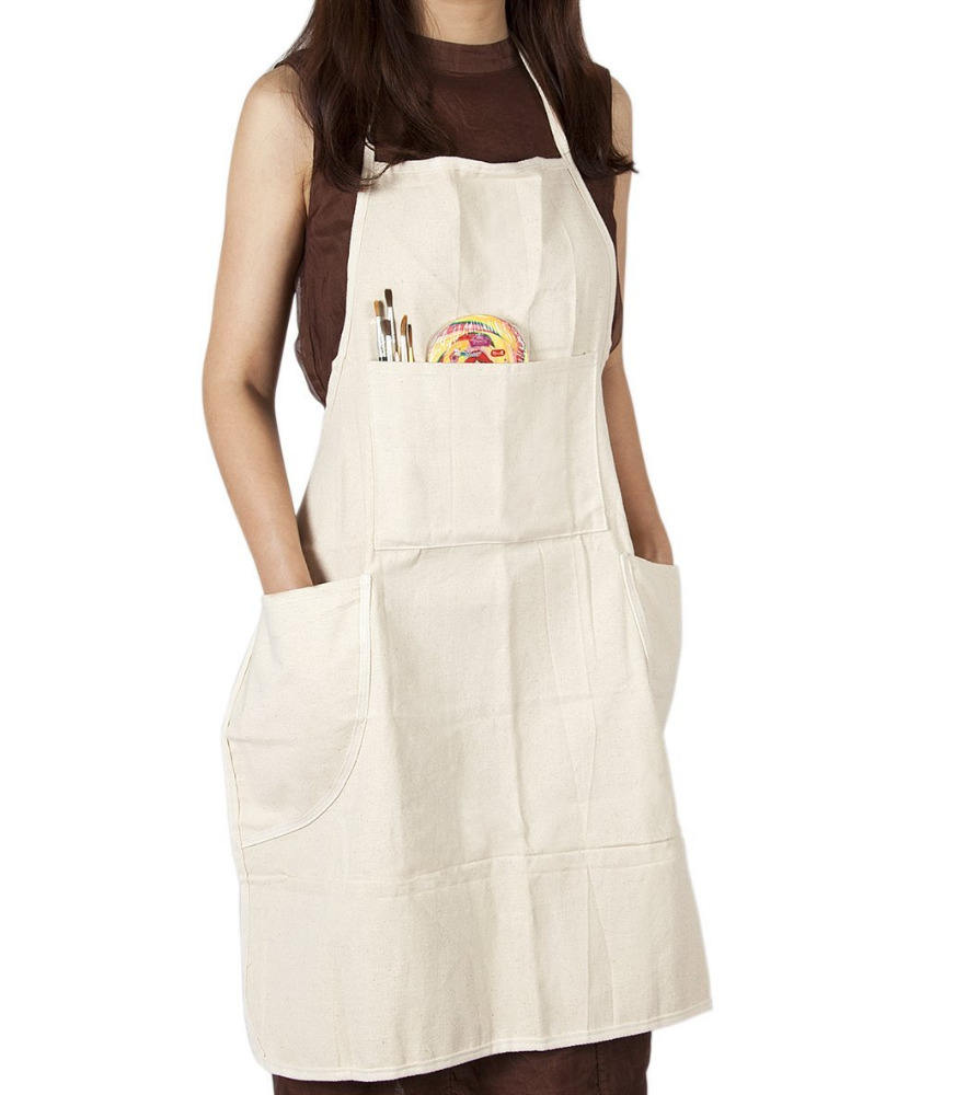 Adjustable Bib Apron Cotton Canvas With 4 Pockets adult Painting Apron