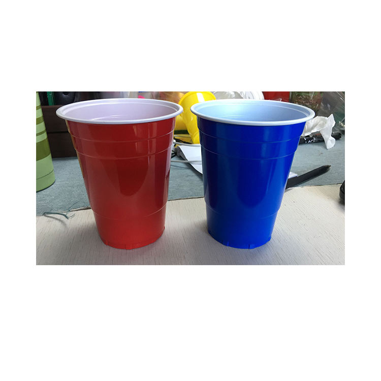 Disposable plastic red cup drinking game party beer pong kit