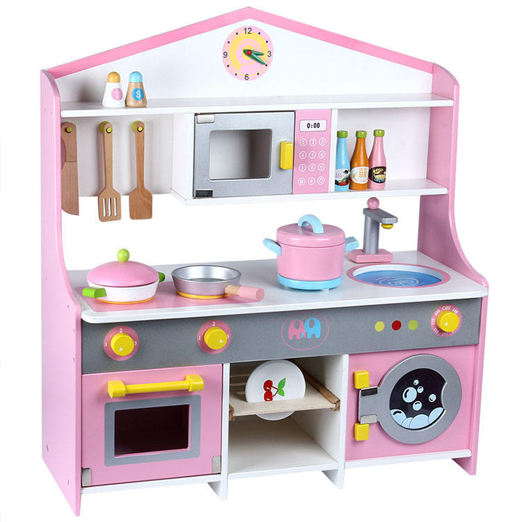 Big Pink Cooking Kitchen Set Toys For Kids Pretend Play Wooden Toys Kitchen