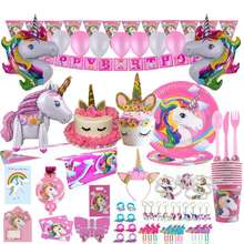 Unicorn Birthday Party Supplies & Decorations - Unicorn Horns Headband | Party Plates Set for Kids | Balloons | Cupcake Wrappers