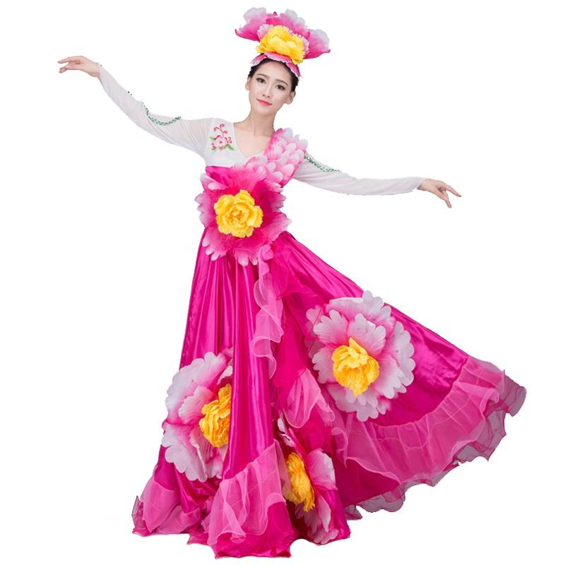 Petal Big Phnom Penh Stage Performance Costume 2019 New Adult Long Skirt Female Dance Club Activities Uniform Dance Clothes