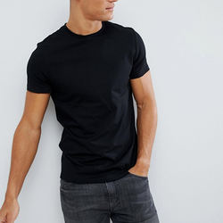 Wholesale Short Sleeve Crew Neck Good Quality 95%Cotton 5%Spandex Slim Fit Black Blank T Shirt Men