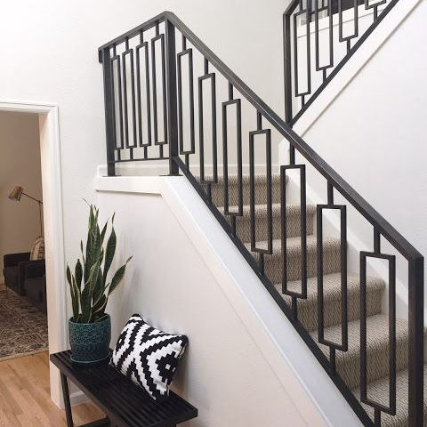 Decorative Indoor Steel Stair Railing Design and Iron Balustrades Handrails