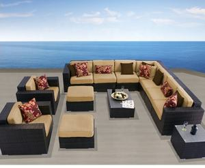 Hot sale outdoor patio garden living room wicker big sofa set furniture for sale