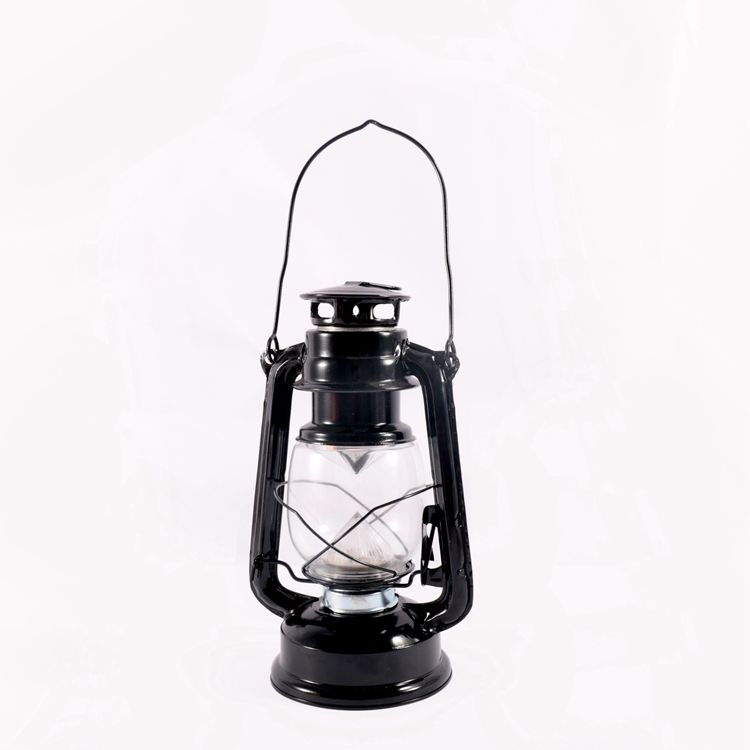 cheap rechargeable small stainless steel light Outdoor LED vintage Storm waterproof battery Black Metal Lantern