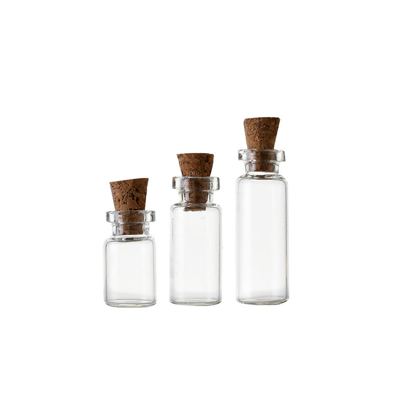 1.5ml 2ml 5ml Transparent Drift Bottle Empty Clear Glass Tube Vial with Cork