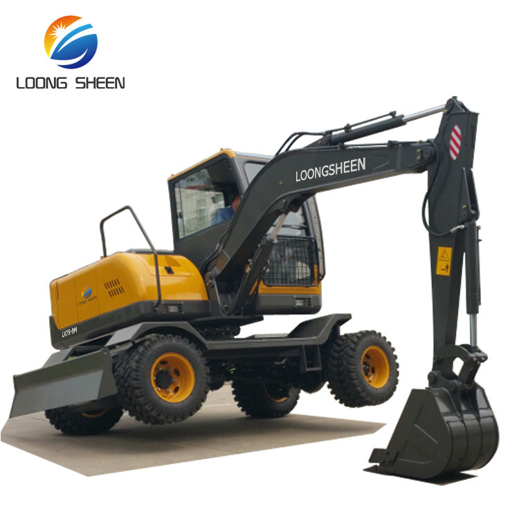 7 Ton New Wheel Excavator Rubber Tire Excavators Supplier