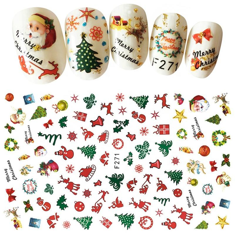 Misscheering 1Pcs Christmas Series 3d Adhesive Nail Stickers Decorations Snowman Boots Tress Xmas Designs Nail Beauty Stickers