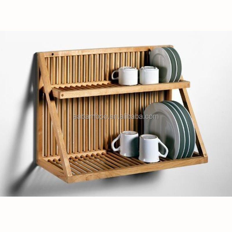 Wall mount hanging bamboo 2 tier dish drying rack