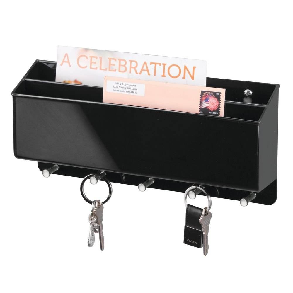 Best Selling Black Wall Mount Plastic Divided Mail Organizer Storage Basket Holds Letters, Magazines, Coats, Keys