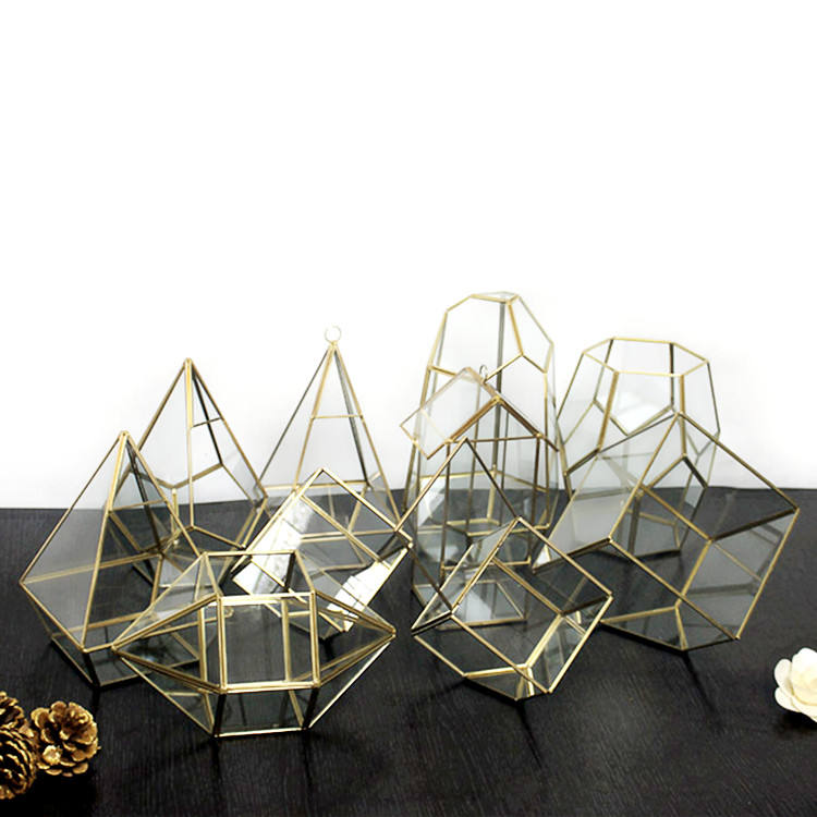 OEM all types handmade geometric glass terrarium for home and wedding decoration