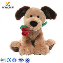 Hot selling valentine day gift soft teddy bear plush stuffed dog with rose