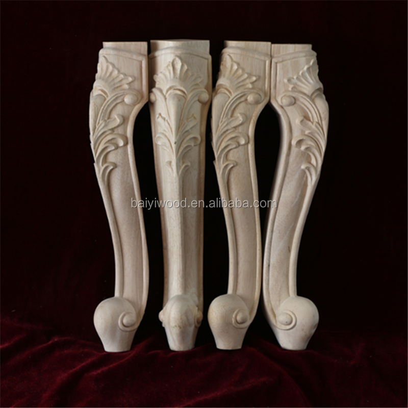 Unfinished antique wood carved table legs