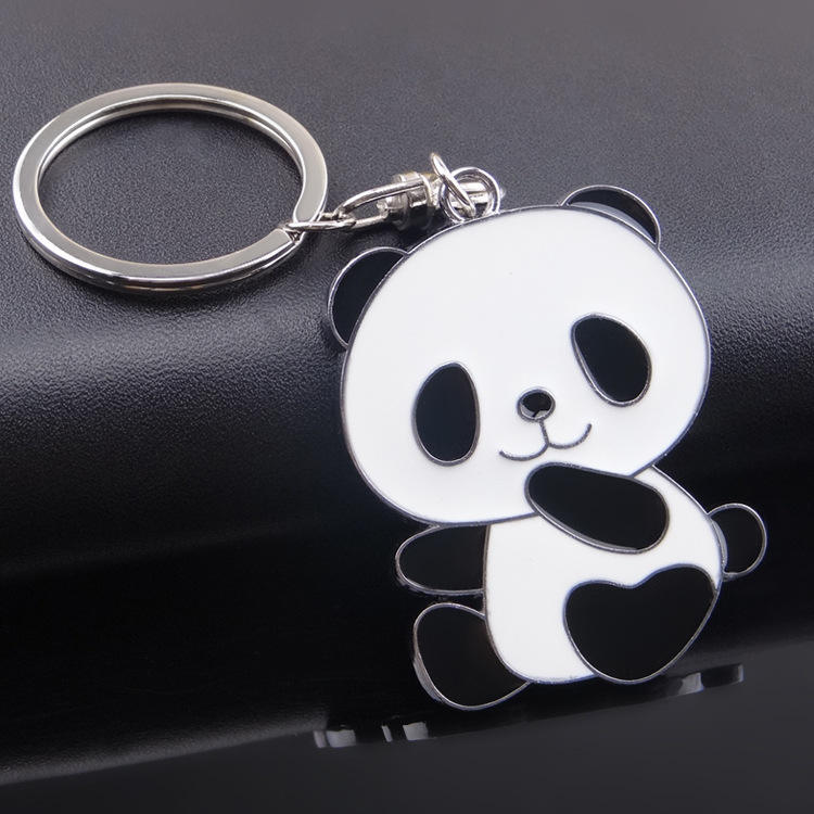 Bulk cheap metal custom panda keychain