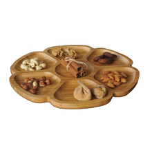Wholesale Cheap Bamboo Snack Serving Plate for Nuts, Appetizer, Snack and Breakfast