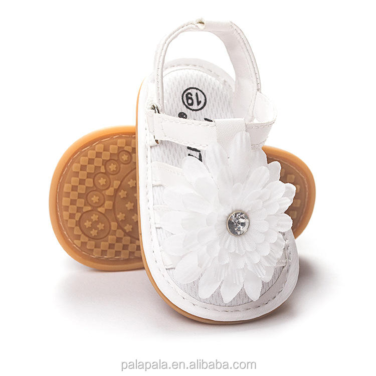 wholesale 50pairs/lot new white flower baby summer fancy sandals for girls baby sandals prewalker princess dress shoes