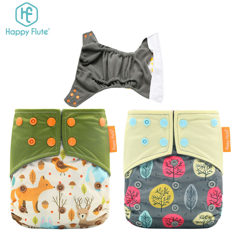 Happyflute Unisex Baby Pocket Cloth Diapers Carry Bag Set Bamboo Insert Reusable Washable Cloth Diaper