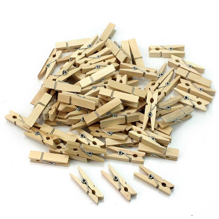 Wholesale 100pcs/bag 30mm Mini Natural Wooden Clips For Photo Clothespin Craft Decoration Clip Pegs