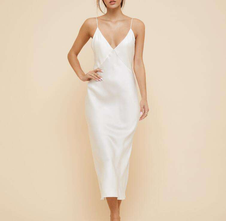 Dry Cleaning [ Dress ] High Quality Slip Dress Silk Satin Maxi Dress With Straps