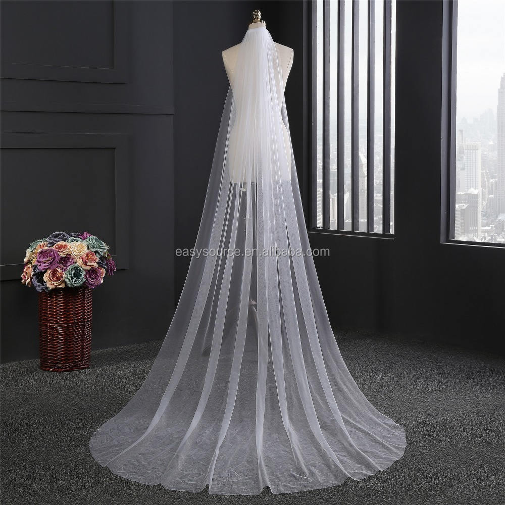 New White/Ivory 1T Veils Wedding long Veil Bride Cathedral Veils With Comb